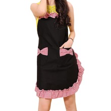 Lovely Princess Apron Black Cotton Pattern Bowknots Grid Pattern Aprons For Women