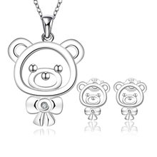 Kids Bear Crystal Jewelry Wholesale Earrings Set Cheap Fashion Jewellery Necklace And Earring Set Gift Parure Bijoux SPCS724
