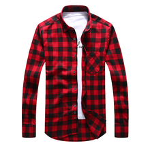 unisplendor Flannel Men Plaid Shirts 2017 Autumn Luxury Slim Long Sleeve Brand Formal Business Fashion Dress Warm Shirts YN008