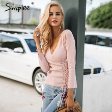 Simplee Causal lace up v neck knitted sweater women Slim skinny winter sweater jumper 2017 Autumn knit pull femme pullover(China)