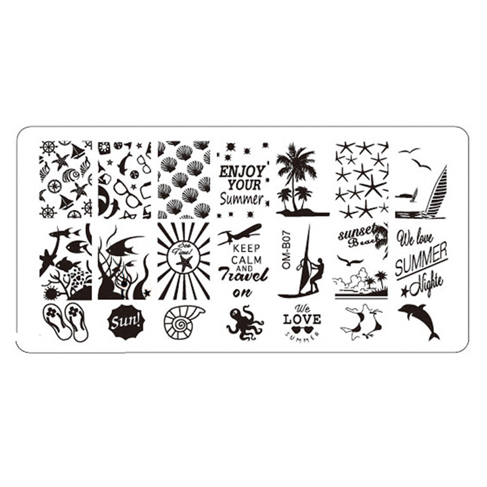 Summer patterns Stamping Tool Nail Art DIY Nail Stamp Stamping Image Plate Print Nail Art Template P35 May31
