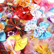 50pcs Pet Butterfly Bow Mixed Colors Cute Pet Headwear Bow Butterfly Knots Rubber Band A Great Gift for Your Lovely Pets