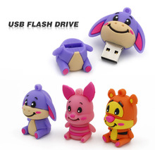 Cartoon Little Donkey Pink Pig Tiger Bear model USB 2.0 Memory Stick Flash pen Drive 4GB 8GB 16GB 32GB 64GB  100% Genuine