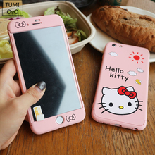 Luxury 3 in 1 Full Body Cover Protect Glass Case For iPhone 6 6s 7 Plus Cartoon Hello Kitty Hard PC Scrub Cases Back Phone(China)
