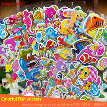 Waterproof Removable Wall Stickers sea fish refrigerator bathroom nursery home decor decals Children stickers
