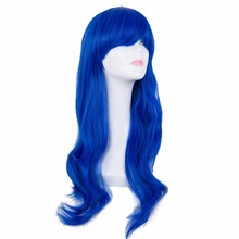 Cos-play Wig Fei-Show Synthetic Heat Resistant Fiber Long Wavy Diamond Blue Hair Perruque Party Women Cartoon Role Hairpiece