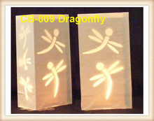 30pcs/lot Dragonfly Cut Luminaria Paper Lantern Candle Bag For BBQ Christmas Party Home Outdoor Wedding Decoration  9*15*26cm