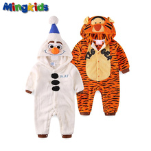 Mingkids baby boy Rompers Jumpsuits Snowman Sleepsuit Pajamas Costume Cosplay warm fleece(China)
