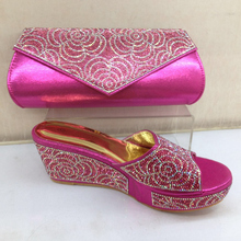 Pink Color Shoes and Bag Set African Sets 2017 Matching Italian Shoe and Bag Set Decorated with Rhinestone Nigerian Shoe and Bag