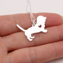 1pcs Basset Hound Necklace Pendant Puppy Heart Dog Rescue Pet Necklaces & Pendants Dainty Animal Charms Christmas Gift Lead Free