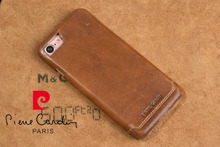 PierreCardin Ultra-Thin Genuine Leather Fashion Luxury Cell Phone Case For Apple iPhone 7/7 Plus Cases Cover Brown Free Shipping