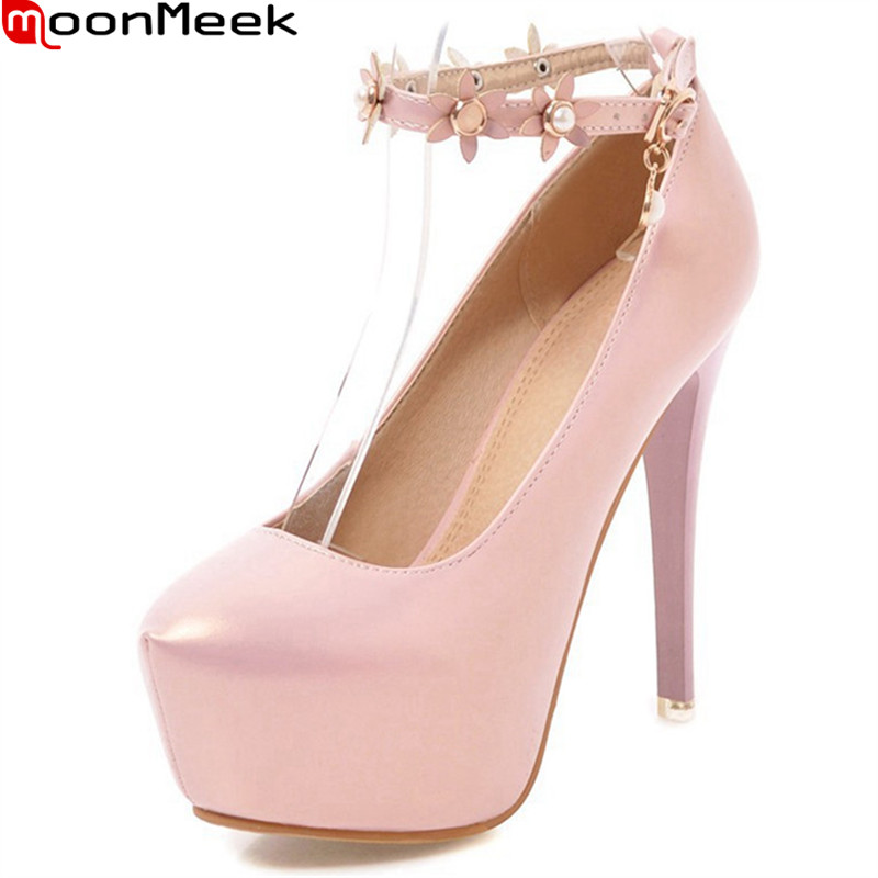 MoonMeek new summer spring pumps women shoes extreme high heels round toe thin heel with buckle sweet party wedding ladies shoes<br>