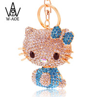 Super Big Size Crystal Huge Kitty Cat Keychain Fashion Jewelry Rhinestone Animal Key Chain Holder HandBag Pendant Car KeyRing