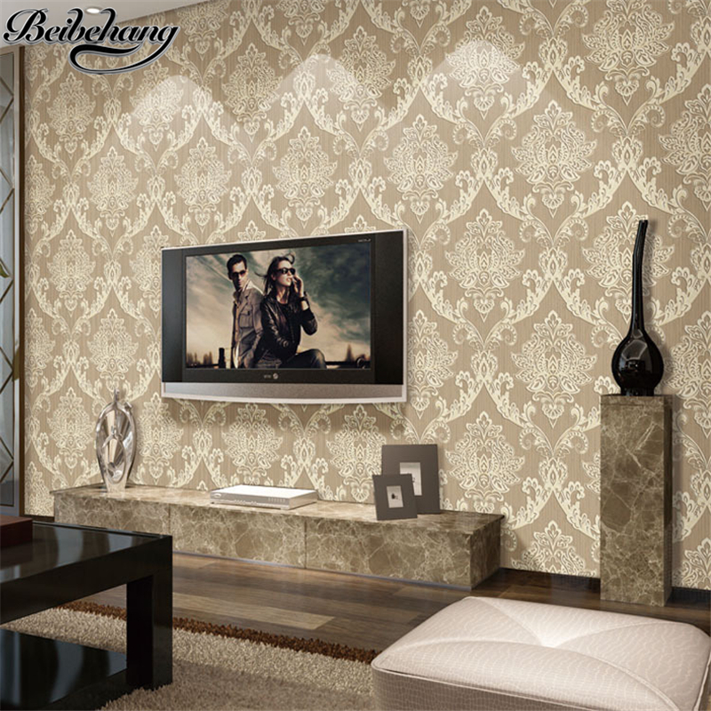 beibehang European - style 3D non - woven fabric wallpaper home improvement bedroom living room television background wallpaper<br>