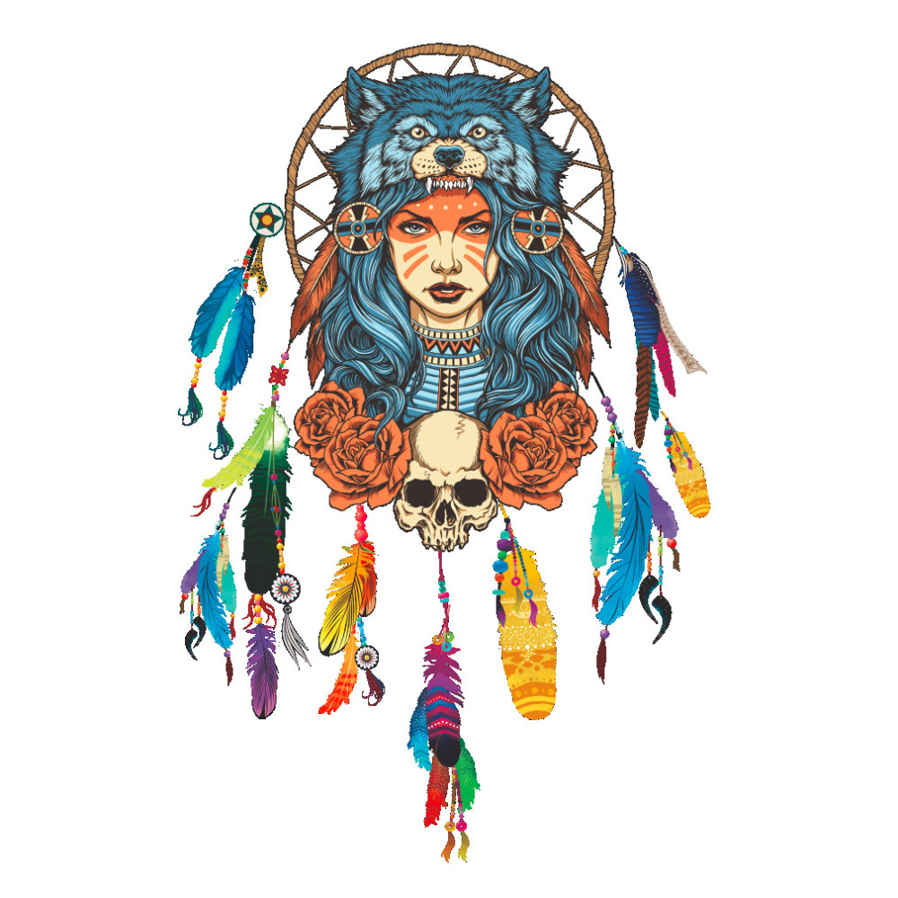 Colorful Indian Wolf Headdress Wall Stickers Full Color Girl Unique Removable Lady Wolf Design Wall Sticking Stickers 45*45cm(China (Mainland))