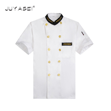 Chef Uniforms Clothing White Short Sleeve Men Food Services Cooking Clothes Double-Breasted Golden Edge Uniform Chef Jackets