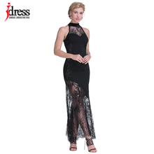 IDress Designer Clothing 2018 Runway Womens Fashion Vestido Longo Wholesale Sexy Evening Party Patchwork Halter Lace Maxi Dress(China)