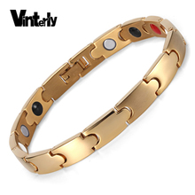 Vinterly Simple Men's Healing Energy Negative Ion Germanium Magnetic Stainless Steel Bracelets Bangles for Women Jewelry