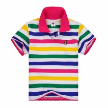 High quality children t shirts boys girls clothes kids t shirt summer striped short sleeve cotton  polo shirt