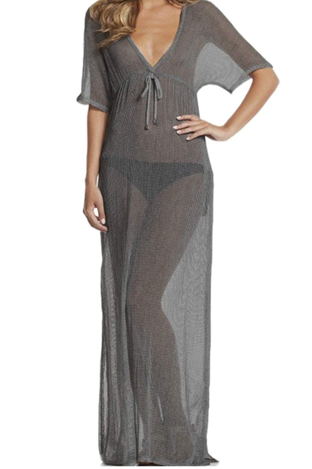 5pcs( Sexy Long Mesh Beach Dress Beach Bikini Swimwear Cover Up Grey<br>