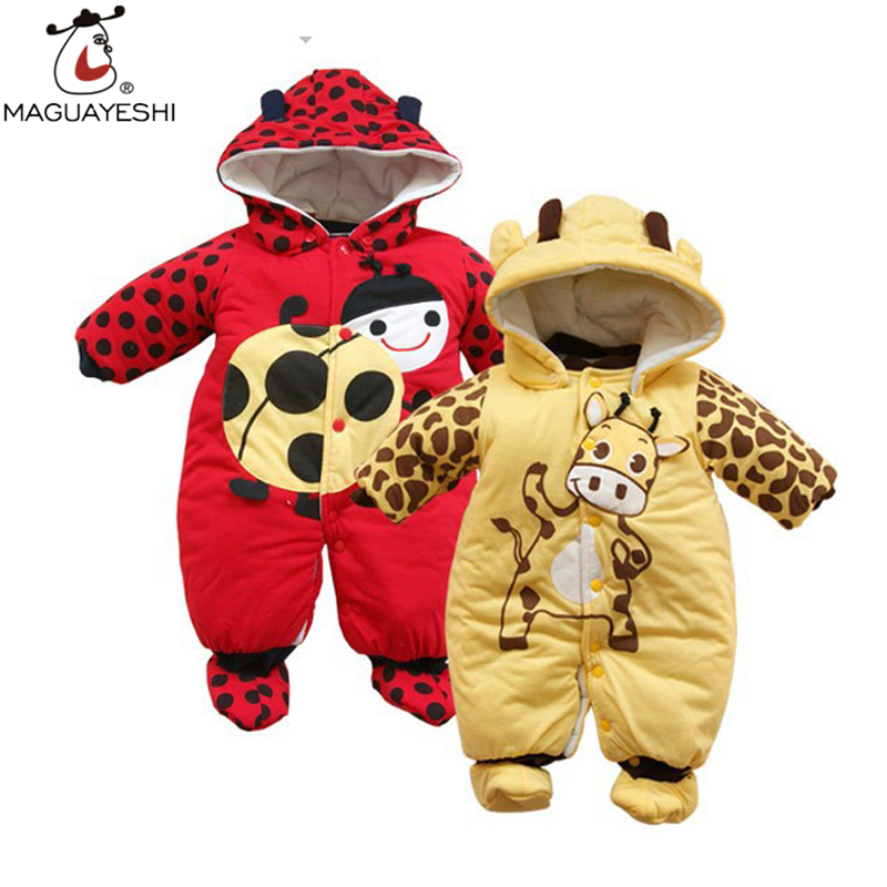 2017 Winter Baby Rompers Warm Cotton Thick Rompers Cartoon Ladybug Cows Baby Boys Clothing Kids Jumpsuits Baby Girls Clothes<br><br>Aliexpress