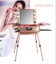 Rose-Golden 3 types  Professional Rolling Studio Makeup Artist PVC Cosmetic Case w/ Light Mirror Train Box 2016 New Arrival