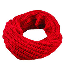2017 Men Women New Solid Knitted Circle Wool Scarf Winter Warm Soft Ring Ladies Girls Boy Comfortable Scarf for Dropshipping(China)