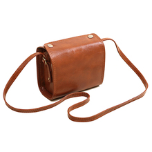 Women Vintage Mini Leather Handbags Purse Clutch Cosmetic Shoulder Bags Camel