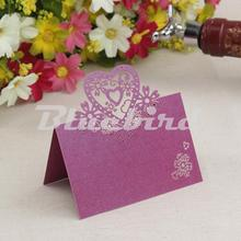 Wedding Table Decoration Purple Love Heart Laser Cut Paper Place Card / Wedding Party Table Name Place Cards