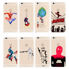Marvel Hero Captain America Design Case Cover For Apple iPhone 4 4S 5 5S SE 5C 6 6S 6Plus 7 Plus STAR WARS Transparent PC Shell
