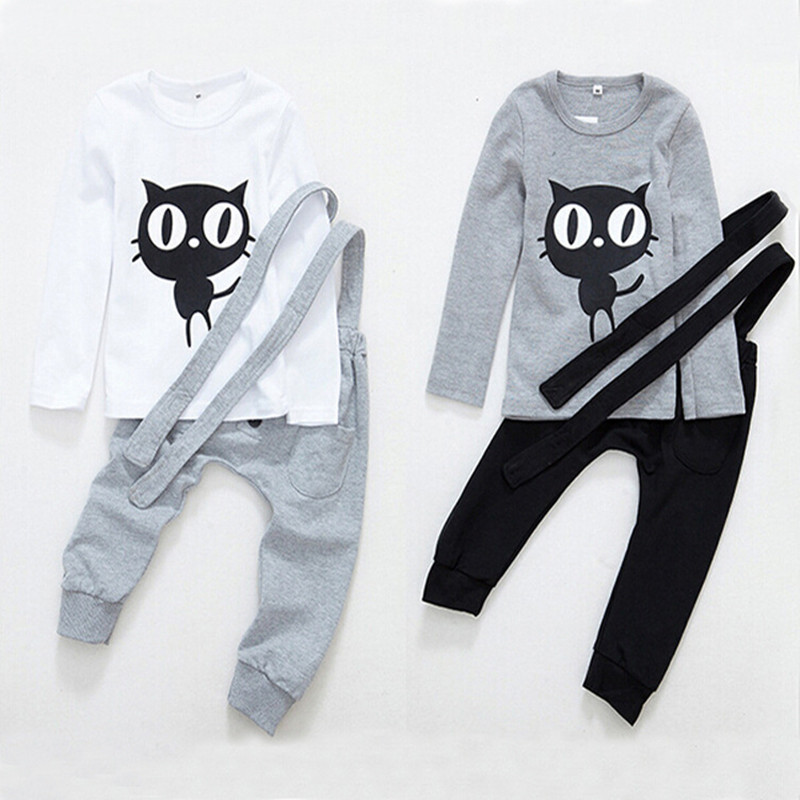 Spring 1-5 t baby clothes set of cats children tshirt + brace overalls pants, childrens clothing coat tight clothing<br><br>Aliexpress