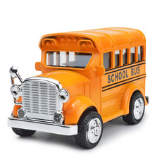 EFHH Alloy Retro School Bus Vehicles Model Diecast Toy Car 1:43 Color Random with Musical Flashing Pull Back Drop Shipping(China)