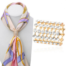 Fashion lady accessories airline stewardess scarf buckle high quality crystal simple scarf buckle for women