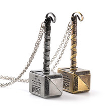 Vintage Thor Hammer Necklaces Pendants Punk Thor Quake The Avengers alliance Dark World Necklace Men women Silver Gold color(China)