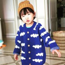 New girls cardigan cartoon baby girls sweater cloud kids clothes children sweater warm long sleeve boys girls knitwear R2-16H