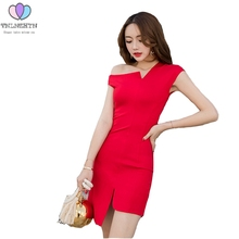 Buy TNLNZHYN 2017 New Summer Dress Fashion Irregular Neck Sexy Dress Women Temperament Slim Ladies Elegant Shoulder Dress AL217 for $24.34 in AliExpress store