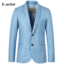 E-artist Mens Slim Fit Business Casual Linen Blazer Jackets Suit Coats 2 Buttons Outwear Overcoats Plus Size 5XL X06