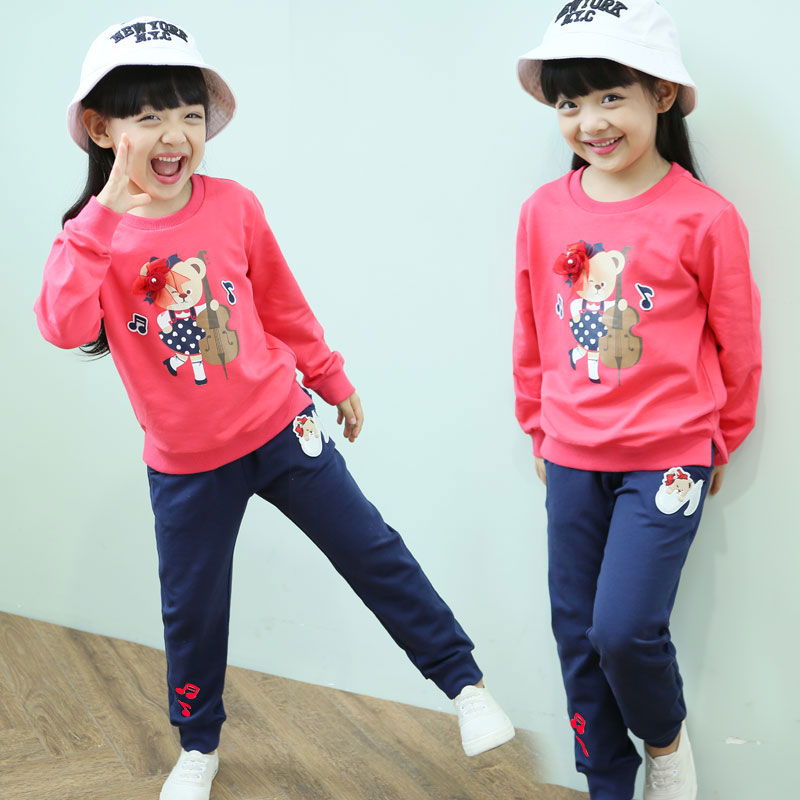Vestidos 2017 bear pattern autumn cotton girls long pants &amp; sweatshirt childen set clothing girls clothes 3 4 5 6 7 8 9 10 years<br><br>Aliexpress