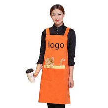 Men And Women Cotton Restaurant Work Apron Bib With Pocket Coffee Tea Shop Baking Kitchen Cooking Aprons for Woman Printing Logo