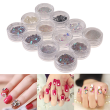 12pcs Nail Sequins Glitter Sticker Colorful Round Wafer Varnish Fingernail Decoration DIY Painting Manicure Nail Stickers Tools(China)