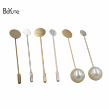 BoYuTe 50Pcs 4 Colors Round 10MM 15MM Flat Pad Metal Brass Diy Long Pearl Brooch Pin Lapel Pin Base Settings(China)