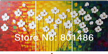Modern palette knife thick white flower oil painting for modern home decoration,3 pieces/group