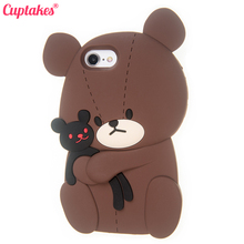Cuptakes for iPhone 6S Case for Apple iPhone 6 7 Plus Cover Soft Silicone Phone Cases Cute 3D Brown Bear Rabbit Toy Love Coque