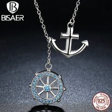 BISAER Popular Design 925 Sterling Silver Cross Ferris Wheel Blue Anchor Pendants & Necklaces Wedding Jewelry HSN049