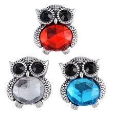 New PL0123 Beauty Charming 3pcs mixed Rhinestone Owl 18MM snap button fit DIY trendy snap jewelry wholesale