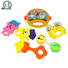 MQ 6pcs/set Kids Funny Bed Toys Baby Rattles Plastic Hand Shake Bell Ring Children Early Learning Educational Toys