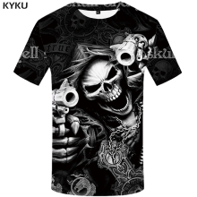KYKU Brand Skull T shirt Skeleton T-shirt gun Tshirt Gothic shirts Punk Tee vintage rock t shirts 3d t-shirt anime male styles(China)