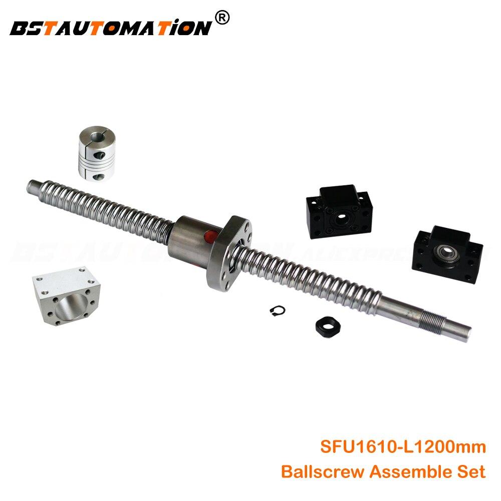 1 anti backlash 16mm ballscrew RM1616-650mm-C7+BK//BF12 end support bearing CNC
