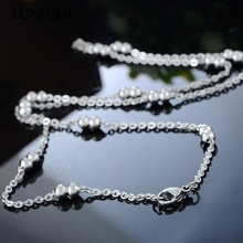 FUNIQUE 1PC Stainless Steel Necklace Flat Curb Cross Chain Double Beads Balls DIY Fine Jewelry Findings For Women DIY 49.9cm 1PC(China)