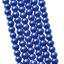 4 6 8 10MM Imitation Pearl Glass Blue Round Beads DIY Fashion Bracelets& Necklaces Making Accessories